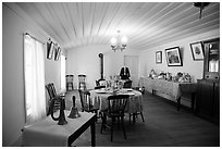 Dining room, Plaza Hotel. San Juan Bautista, California, USA ( black and white)