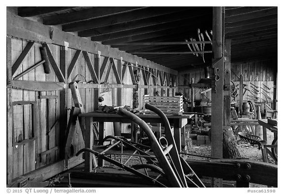 Blacksmith shop and displays. San Juan Bautista, California, USA (black and white)