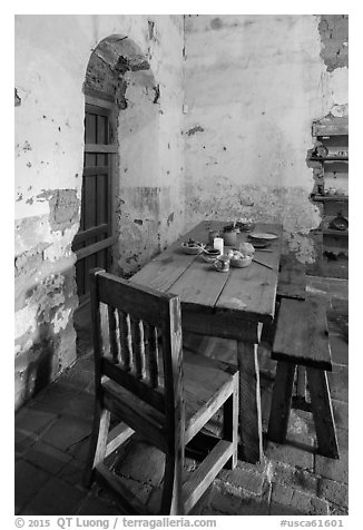 Dining table, Mission San Miguel. California, USA (black and white)