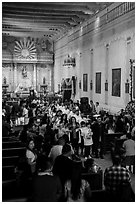 Church interior during festival, Mission San Miguel. California, USA ( black and white)