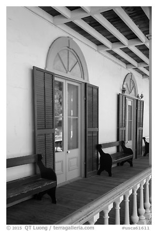 Zanetta House porch, San Juan Bautista State Historical Park. San Juan Bautista, California, USA (black and white)