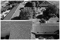 Aerial view of Mission San Miguel roofs and garden. California, USA ( black and white)