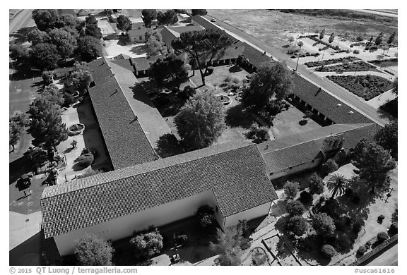 Aerial view of Mission San Miguel complex. California, USA (black and white)