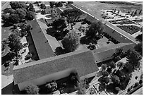 Aerial view of Mission San Miguel complex. California, USA ( black and white)