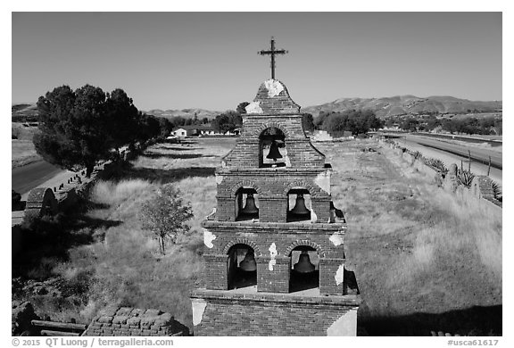 Aerial view of Mission San Miguel bell tower. California, USA (black and white)