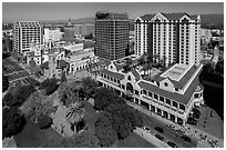 Aerial view of Fairmont Hotel, San Jose Museum of Art, and downtown. San Jose, California, USA ( black and white)