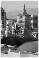 Rooftops of Tech Museum, San Jose Museum of Art, St Joseph Cathedral, and Bank of Italy building. San Jose, California, USA ( black and white)