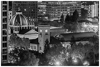 San Jose Museum of Art and St Joseph Cathedral at night from above. San Jose, California, USA ( black and white)