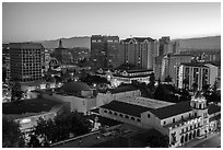City National Civic and city skyline at dawn. San Jose, California, USA ( black and white)