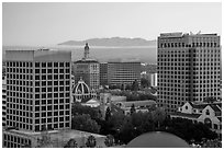 San Jose skyline at sunrise with fog over hills. San Jose, California, USA ( black and white)