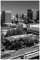 Light rail, Tech Museum and downtown skyline from above. San Jose, California, USA ( black and white)