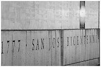 Detail of Bicentennial monument. San Jose, California, USA ( black and white)