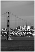 Golden Gate Bridge and city skyline. San Francisco, California, USA ( black and white)
