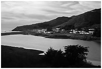 Fort Cronkhite across Rodeo Lagoon. California, USA ( black and white)