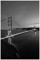 Golden Gate Bridge and city at dusk. San Francisco, California, USA ( black and white)
