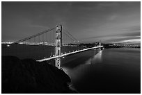 Golden Gate Bridge and city from Battery Spencer, dusk. San Francisco, California, USA ( black and white)
