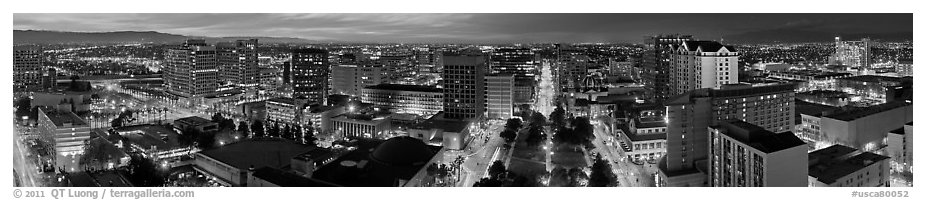 Downtown San Jose skyline and Cesar de Chavez Park at dusk. San Jose, California, USA (black and white)