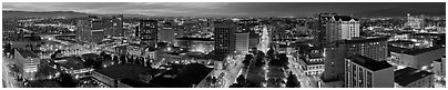 Downtown San Jose skyline and Cesar de Chavez Park at dusk. San Jose, California, USA (Panoramic black and white)