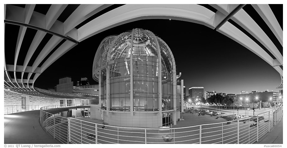 San Jose City Hall rotunda at dusk. San Jose, California, USA