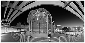 San Jose City Hall rotunda at dusk. San Jose, California, USA (Panoramic black and white)