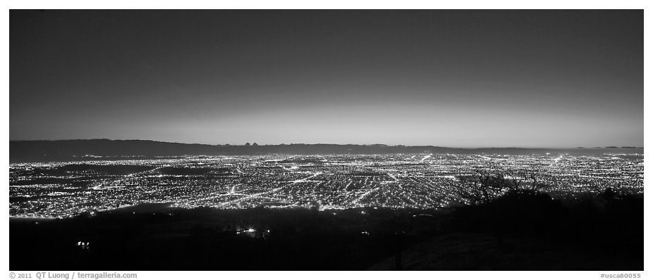 Lights of San Jose and Silicon Valley at sunset. San Jose, California, USA (black and white)