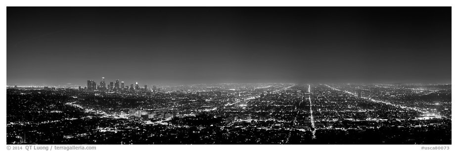 Street grid and city at night. Los Angeles, California, USA (black and white)
