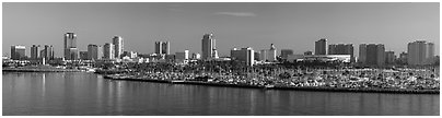 Skyline with harbor. Long Beach, Los Angeles, California, USA (Panoramic black and white)