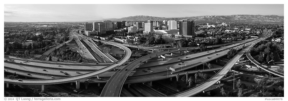 Aerial view of downtown and freeways. San Jose, California, USA (black and white)
