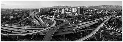 Aerial view of downtown and freeways. San Jose, California, USA (Panoramic black and white)