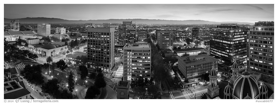 Downtown San Jose skyline and Santa Cruz Mountains at dusk. San Jose, California, USA (black and white)