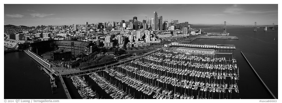 Aerial view of South Beach Harbor, ATT Park, and downtown skyline. San Francisco, California, USA (black and white)