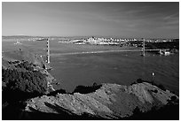 Golden Gate bridge  seen from Hawk Hill, afternoon. San Francisco, California, USA (black and white)