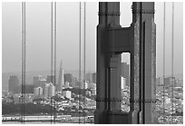 The city seen through the cables and pilars of the Golden Gate bridge, dusk. San Francisco, California, USA (black and white)