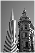 Columbus Tower and Transamerica Pyramid. San Francisco, California, USA (black and white)
