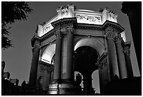 Rotunda of the Palace of Fine arts, night. San Francisco, California, USA (black and white)