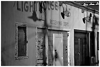 Old warehouse, sunset, Fisherman's Wharf. San Francisco, California, USA ( black and white)
