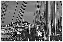 Telegraph Hill and Coit Tower seen through the masts of the Balclutha. San Francisco, California, USA (black and white)