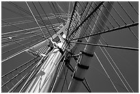 Masts of the Balclutha, Maritime Museum. San Francisco, California, USA (black and white)