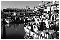 Fishing boats, Fisherman's Wharf. San Francisco, California, USA (black and white)