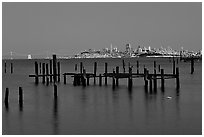 City  seen from Sausalito. San Francisco, California, USA ( black and white)