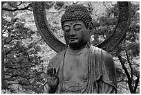 Buddha statue in the Japanese Garden, Golden Gate Park. San Francisco, California, USA (black and white)