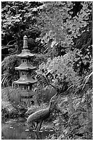 Stupa, Japanese Garden, Golden Gate Park. San Francisco, California, USA (black and white)