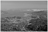 San Francisco and the Bay Area seen from Mt Tamalpais. California, USA (black and white)