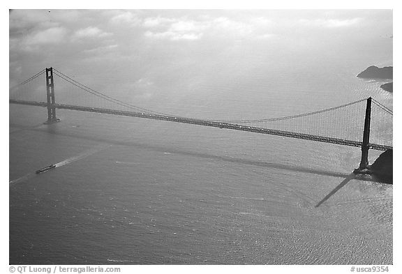 Aerial view of the Golden Gate Bridge. San Francisco, California, USA (black and white)