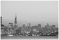 Skyline at sunset with the Transamerica Pyramid. San Francisco, California, USA ( black and white)