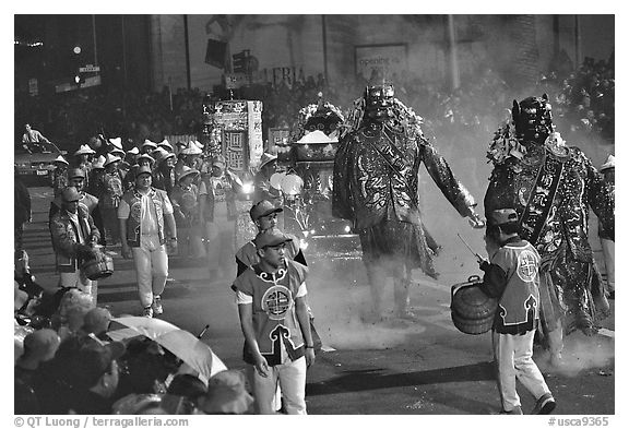 Parade during the Chinese New Year celebration. San Francisco, California, USA (black and white)