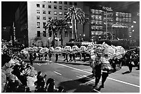 Dragon dancing during the Chinese New Year celebration, Union Square. San Francisco, California, USA ( black and white)