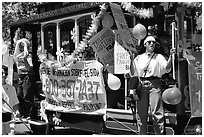 Cable car  during the Gay Parade. San Francisco, California, USA (black and white)