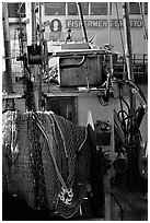 Detail of Fishing boat, Fisherman's Wharf. San Francisco, California, USA (black and white)