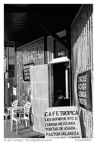 Mexican Cafe. Redwood City,  California, USA (black and white)
